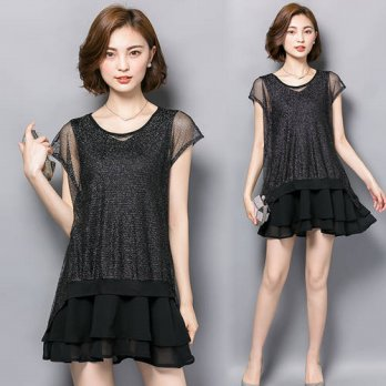 [globalbuy] Large Size M-4XL 2016 Summer Elegant fashion women Dress Black Chiffon Mesh Sp/4224175
