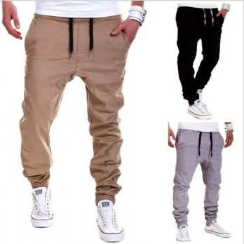 [globalbuy] Elastic Waist Casual Pant Men Spring Autumn Long Trousers 2017 New Fashion Sol/4218482