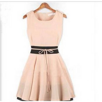 [globalbuy] Summer Style Womens Dress Sleeveless Plus Size Women Clothing Ladies Chiffon B/4224172