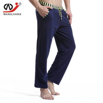 [globalbuy] Men cotton long pants Mens casual trousers soft comfortable Mens Sleep Bottoms/4218476