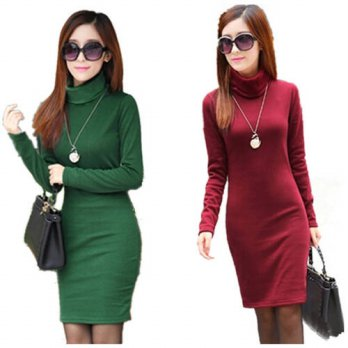[globalbuy] Winter Dress Fleeces Thicken Warm Dresses For Women Turtleneck Solid Dress Fem/4224164