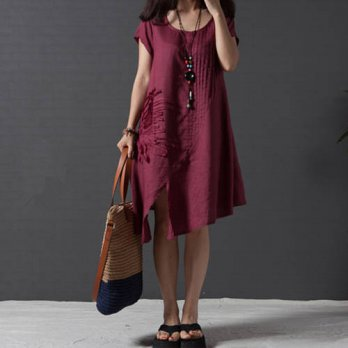 [globalbuy] 2016 New Fashion Women Clothing Summer Plus Size Loose Vintage Ruffle Embroide/4224143