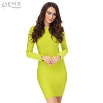 [globalbuy] 2016 winter dress women party dresses fluorescent green long sleeve luxury ele/4224135
