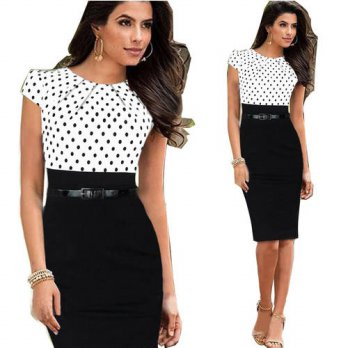 [globalbuy] 2016 New Brand O Neck Sashes Women Summer Dress Pencil vestidos Short Puff Sle/4224130