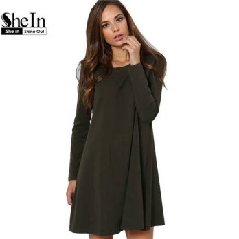 [globalbuy] SheIn Shirt Dress Woman Long Sleeve Round Neck Casual T shirt Dress Summer Lad/4224128
