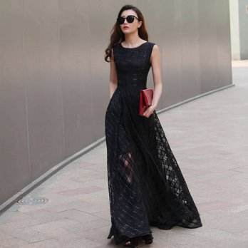 [globalbuy] 2016 New Design 7XL Long Organza Dress Maxi Spring Autumn Plaid Large Size Wom/4224120