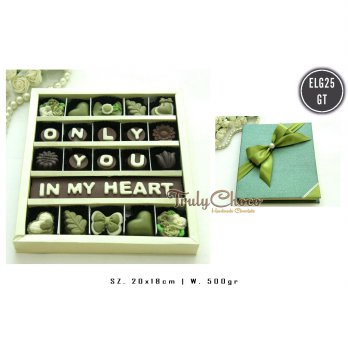 Trulychoco Coklat Green Tea Love Edition - ONLY YOU IN MY HEART - cover tertutup