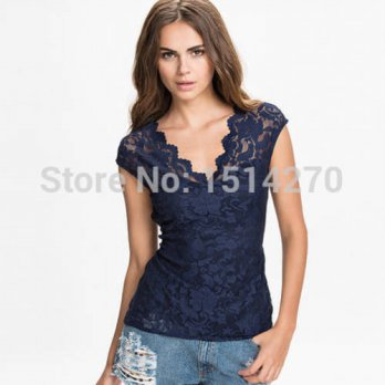 [globalbuy] New Brand Fashion Sexy Women Lace Tops shirts Wave Lace V-Neck Sleeveless Summ/4222559