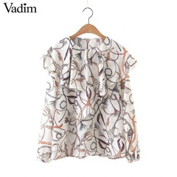 [globalbuy] Women ruffles feather print blouses long sleeve o neck sweet shirts female cas/4222624