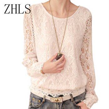 [globalbuy] New Fashion Lace Top Women Blouse Shirt Female O-Neck Full Sleeve Casual White/4222617