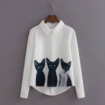 [globalbuy] Autumn 2015 New All-match Blouse Three Cats Print Shirt Pullover Long Sleeve C/4222595