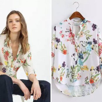 [globalbuy] European Style 2016 Summer New Arrival Women Fashion Casual Floral Print V-nec/4222584