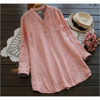 [globalbuy] Sweet cherry cotton yarn skin-friendly rustic long sleeve vintage shirt blouse/4222530