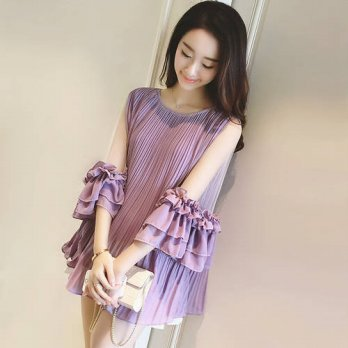 [globalbuy] Lolita Blouse Ladies 2016 Summer New Fashion Loose Pleated Long Chiffon Blouse/4222529
