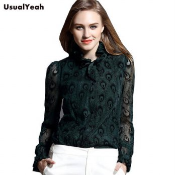 [globalbuy] New 2016 Elegant Floral Women Shirt Body Blouses Printed Peacock tail Lantern /4222523