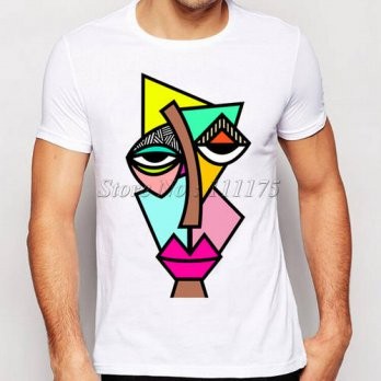 [globalbuy] 2016 mens abstract drawing t-shirt funny painted tee shirts hot sale Hipster c/4215813