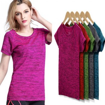 [globalbuy] 2016 Cotton Women T-Shirt 5 Colors S-XL Fashion Short Sleeves Quick Dry Workou/4222440