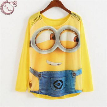 [globalbuy] 2016 long-sleeve tops casual tees loose woman t shirt cartoon big eyes Minions/4222445