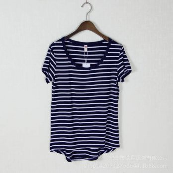 [globalbuy] Spring&Summer Women T-shirts 2016 Striped Short Sleeve O-Neck Modal T-shirts F/4222427