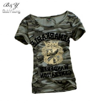 [globalbuy] 2016 Summer Tops Grown Pattern T Shirt Women Camouflage Military Uniform Slim /4222420