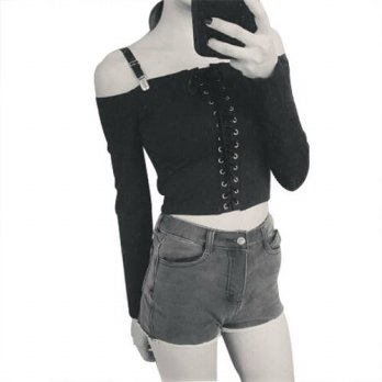 [globalbuy] New Women Sexy Off Shoulder Crop Tops Long Sleeve Slim Casual Black Tops T-Shi/4222418