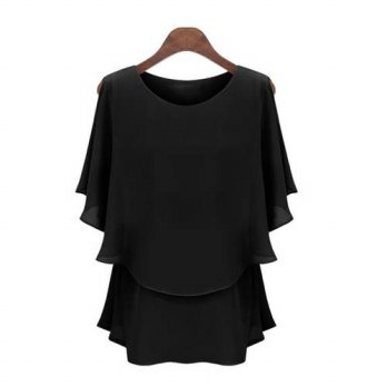 [globalbuy] SIF Sexy Women Casual T-Shirt Off Shoulder O-Neck Chiffon Solid Color Slim Top/4222399