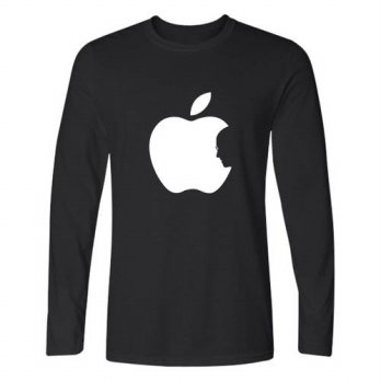 [globalbuy] Steve Jobs Apple Design Funny Printed T Shirt Men Long Sleeve T-shirts and Cla/4215704