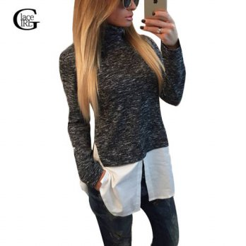 [globalbuy] Lace Girl Women Fake Two Piece T-shirt Turtleneck Long Sleeve Women Tops Sprin/4222375