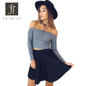 [globalbuy] Kaywide Rib Cotton European style sexy slash neck black t-shirt women tops Aut/4222374