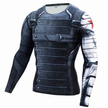 [globalbuy] 2016 Compression Shirt Winter Soldier 3D Long Sleeve T Shirt Fitness Crossfit /4215698
