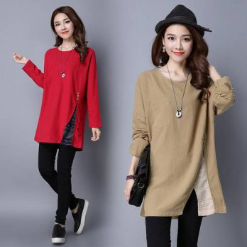 [globalbuy] fashion spring autumn style cotton linen vintage plus size casual loose t shir/4222322