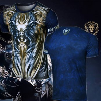 [globalbuy] Boy Girl Tees Game WoW Alliance LionT Shirt Short Sleeve O-Neck WOW King Ryan /4215637