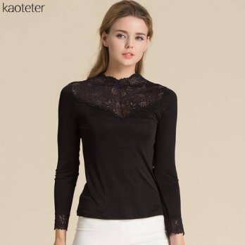 [globalbuy] 100 Real Silk Womens Full Sleeve T-Shirts Femme Lace Turtleneck Female Fashion/4222299