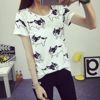[globalbuy] 2016 Womens T-Shirt Summer Style Bottoming Unique Doggs Printed Fashion Clothe/4222284