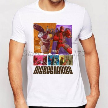 [globalbuy] 2016 MERCENARIES Deadpool Boba Fett Printed T-Shirt For Men Round Neck Short S/4215605