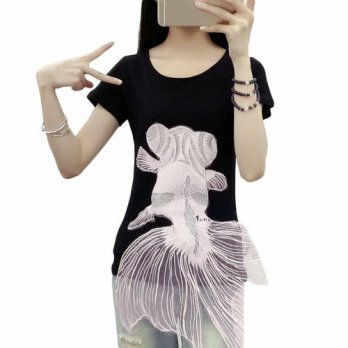 [globalbuy] 2017 New Arrival Women Goldfish Tops Short Sleeve Slim Fit Tee Shirt Plus Size/4222243