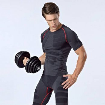 [globalbuy] Men Short Sleeve Tight Compression Body Shape Quick-Drying Tops T Shirt/4215566