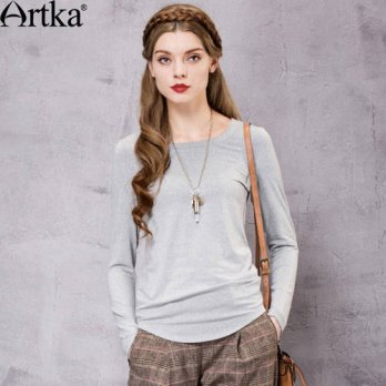 [globalbuy] Artka Womens Autumn New Vintage Solid O-Neck Full Sleeve Casual All-match Slim/4222341