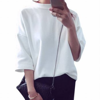 [globalbuy] Summer Solid T-shirt Leisure Tops 2016 Round Neck 5/7 Batwing Sleeved All-matc/4222340