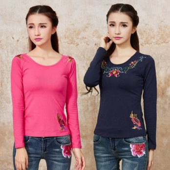 [globalbuy] Vintage ethnic long sleeve blue white black rose red embroidery cotton t-shirt/4222328