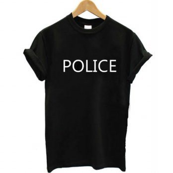 [globalbuy] tops POLICE Letter Print t shirt Women Sexy tees Fashion Clothing Summer Style/4222324
