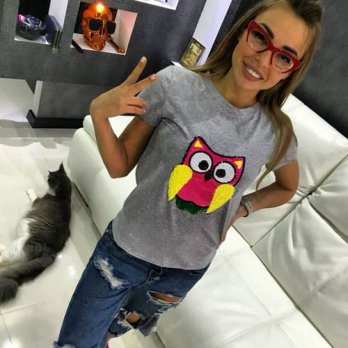 [globalbuy] Hot Sale 2016 T-shirts for women summer short sleeve sequin owl t shirt ladies/4222311