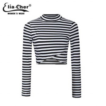 [globalbuy] Autumn Lady Crop Top Full Sleeve Striped T shirt Tops Eliacher Brand Plus Size/4222307
