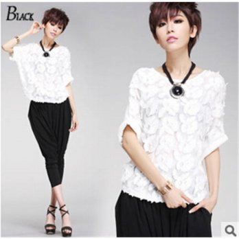[globalbuy] 2015 summer new womens lace shirt-sleeved shirt bat loose T-shirt White Casual/4222300