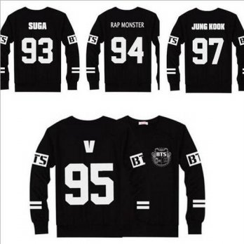 [globalbuy] New BTS T-Shirts Jersey Baseball Black T Shirt Men Women Tops Long Sleeve Casu/4222294