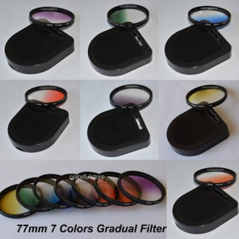 [globalbuy] 77mm 7 x Color Graduated Gradual Green Orange Red Purple Yellow Blue Grey Lens/3695104