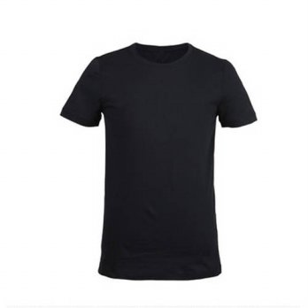 [globalbuy] Summer New Mens T-shirt Bamboo Fiber Solid Color T-shirt Black Short-sleeved M/4215609