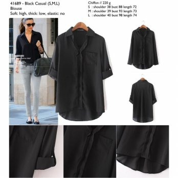 Black Casual (S,M,L) Blouse - 41689