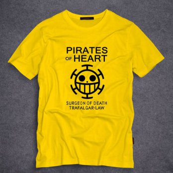 [globalbuy] Anime One Piece Pirates Of Heart Logo T-Shirt Cotton Anime Trafalgar Law Adult/4215600