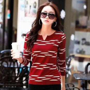 [globalbuy] New T-shirts Winter Tops Long Sleeve Tshirt For Women V-neck Striped Fashion F/4222254